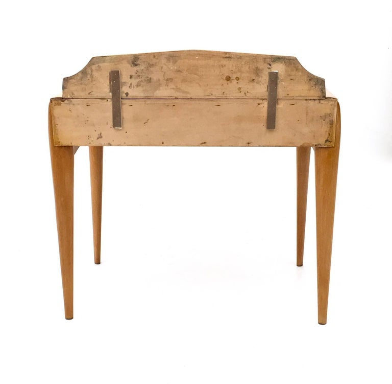 Brass Pair of Birch and Beech Nightstands with a Glass Top, Italy, 1950s For Sale