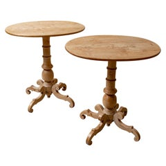 Pair of Birch Four Legged Baluster Rounded Oval Side Sofa Tables, circa 1880s