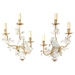 Pair of Bird and Urn Form Crystal Sconces