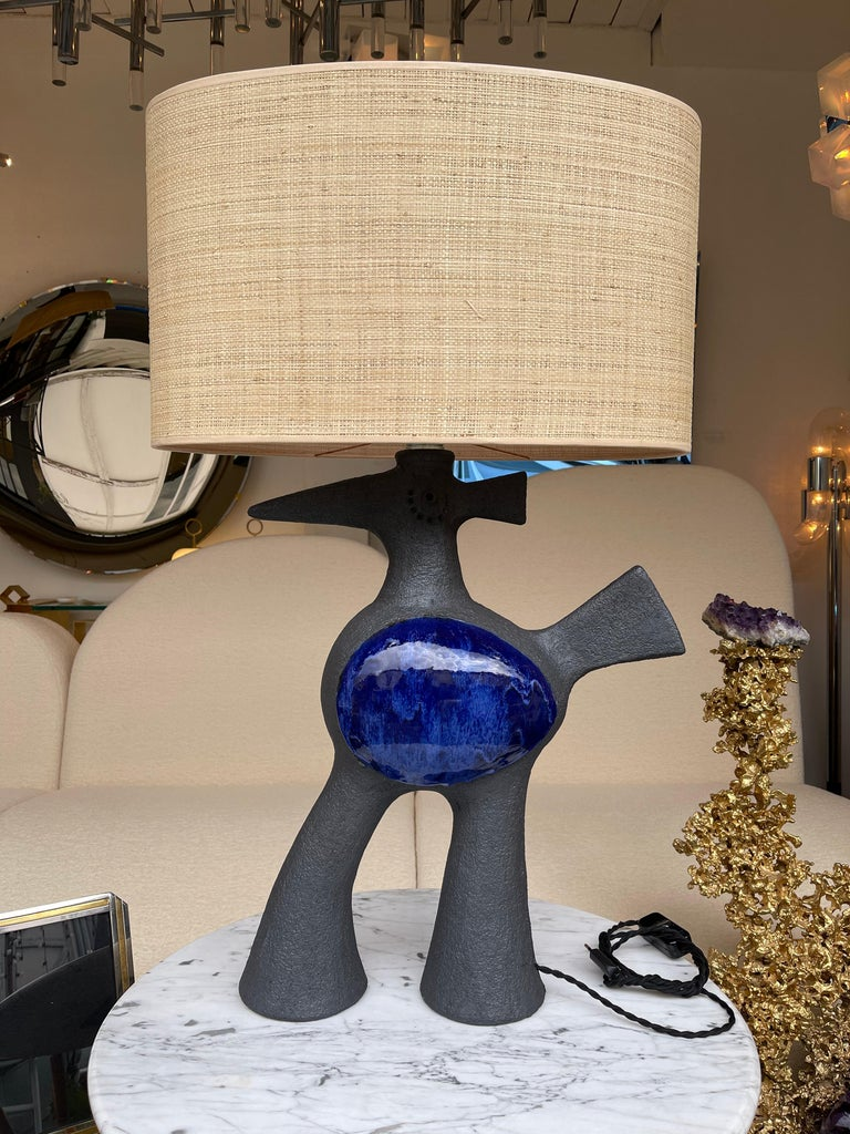 French Pair of Bird Ceramic Lamps by Dominique Pouchain, France, 2020 For Sale