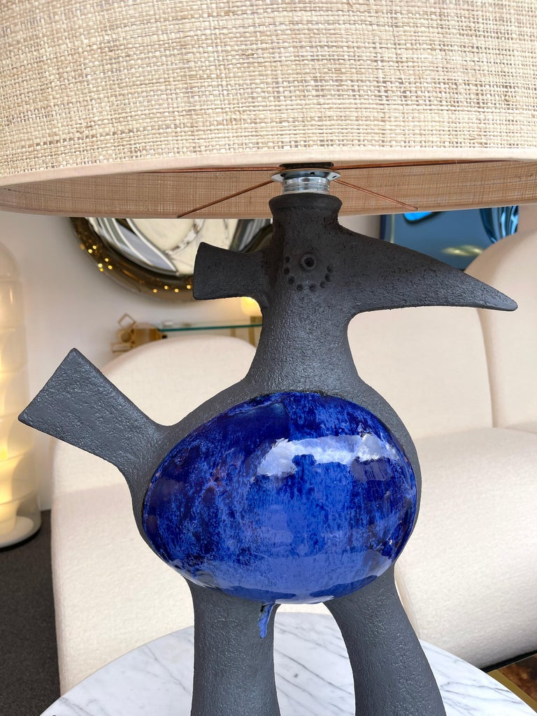 Contemporary Pair of Bird Ceramic Lamps by Dominique Pouchain, France, 2020 For Sale