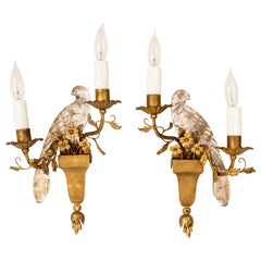 Pair of Bird Wall Sconces in the Manner of Maison Bagves
