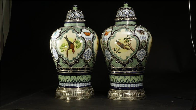 Mexican Pair of Birds and Butterflies Jars, Ceramic and White Metal 'Alpaca' For Sale
