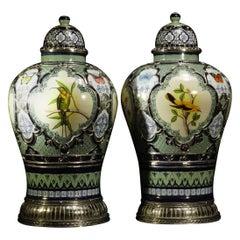Pair of Birds and Butterflies Jars, Ceramic and White Metal 'Alpaca'