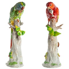Pair of Birds in Green and Red