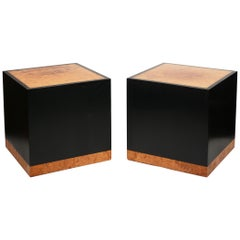 Pair of Birdseye Maple Burl and Resin Cube Side Tables by Edward Wormley