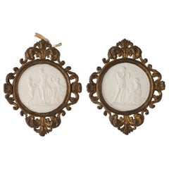 Pair of Biscuit Plates with Antique Frames