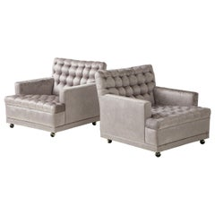 Pair of Biscuit Tufted Club Chairs.