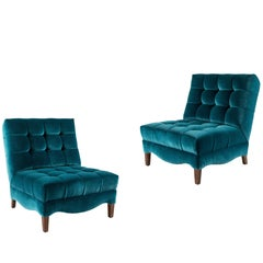 Pair of Biscuit-Tufted Slipper Chairs Covered in Teal Mohair