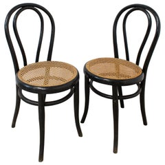Bistro Caned Dining Chairs Fischel Thonet Style, France, Late 19th Century, Pair