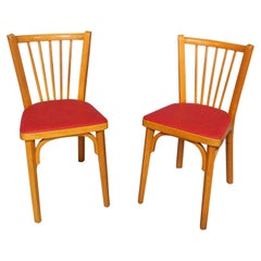 Pair of Bistro Dining Chairs Baumann France Midcentury, circa 1950