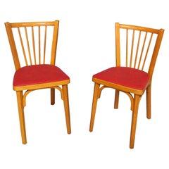 Pair of Bistro Dining Chairs Baumann France Midcentury, circa 1950
