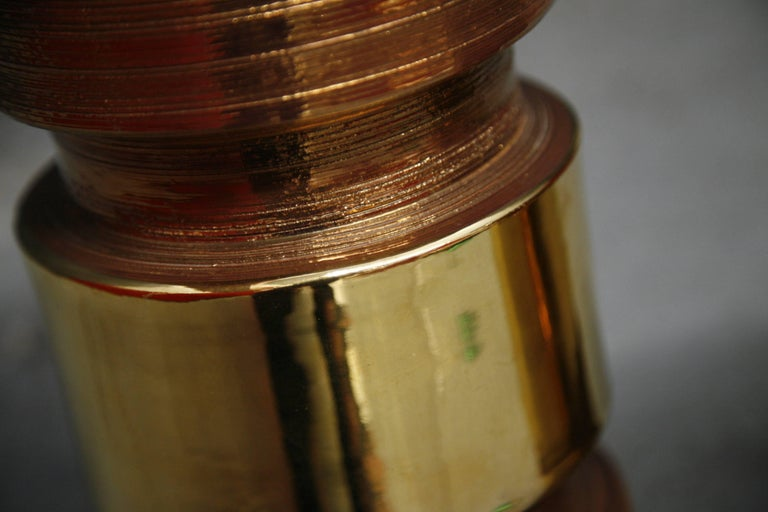 Pair of Bitossi/Bergboms Lamps Copper and Gold For Sale 3