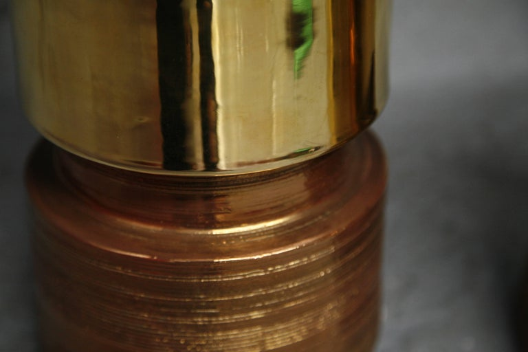 Pair of Bitossi/Bergboms Lamps Copper and Gold For Sale 4