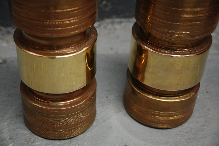 Italian Pair of Bitossi/Bergboms Lamps Copper and Gold For Sale