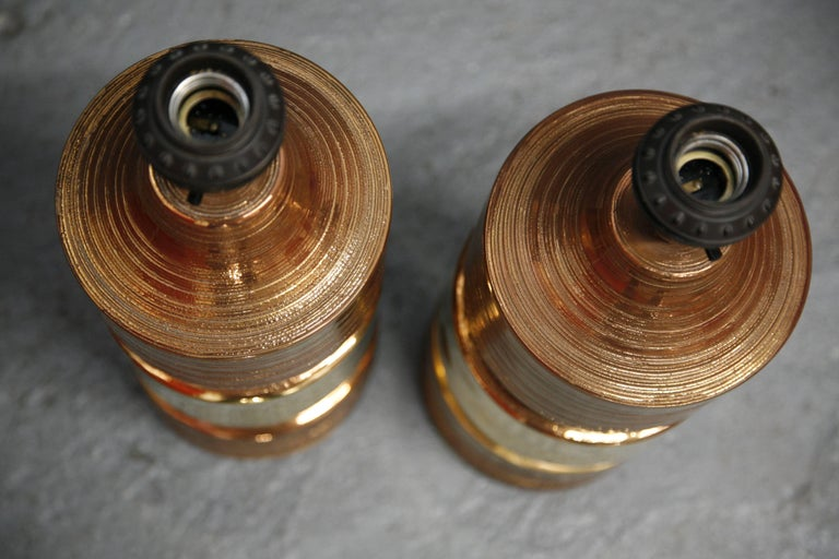 Pair of Bitossi/Bergboms Lamps Copper and Gold In Excellent Condition For Sale In New York, NY