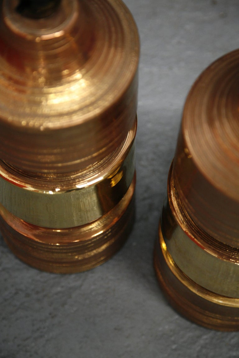 Ceramic Pair of Bitossi/Bergboms Lamps Copper and Gold For Sale
