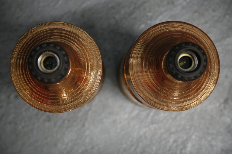 Pair of Bitossi/Bergboms Lamps Copper and Gold For Sale 1
