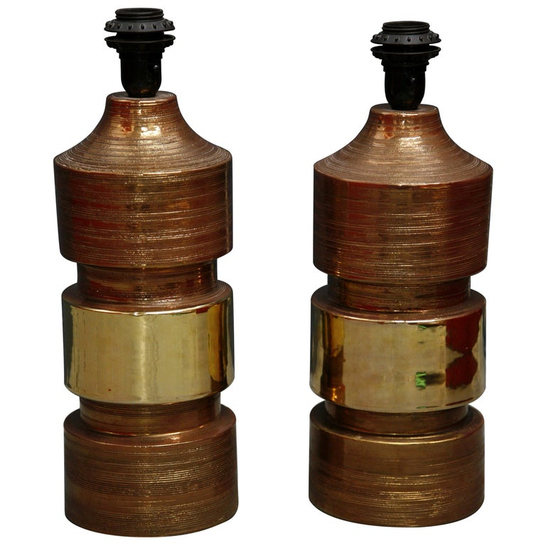 Pair of Bitossi/Bergboms Lamps Copper and Gold For Sale