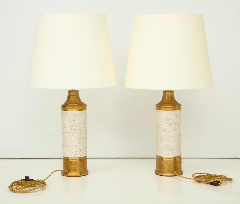 Pair of Bitossi Birch Tree and Gold Ceramic Lamps For Sale 6