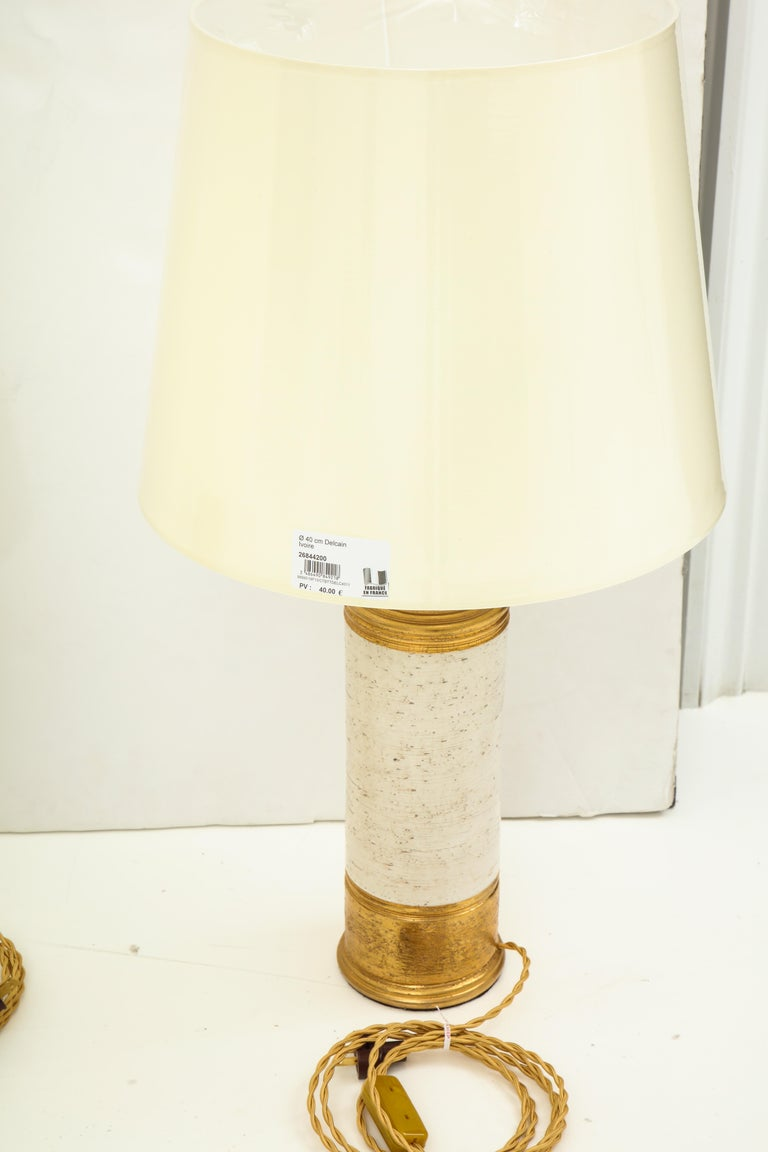 Pair of Bitossi birch tree and gold glazed ceramic lamps, rewired, new shades.