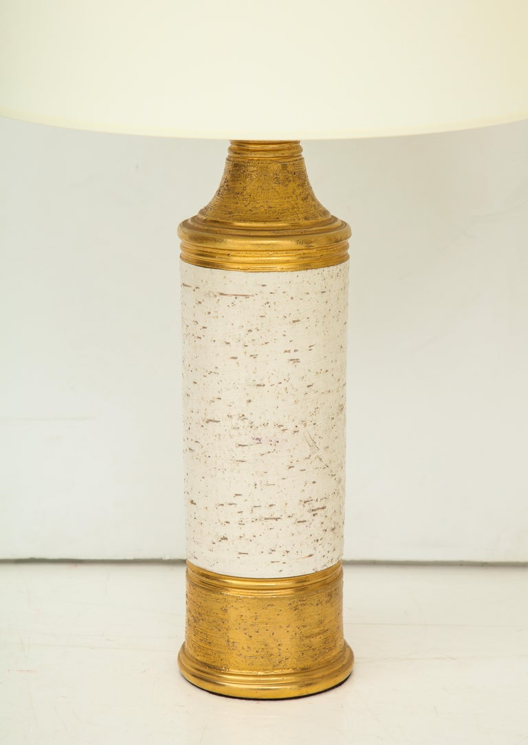 Pair of Bitossi Birch Tree and Gold Ceramic Lamps In Good Condition For Sale In Mt. Kisco, NY