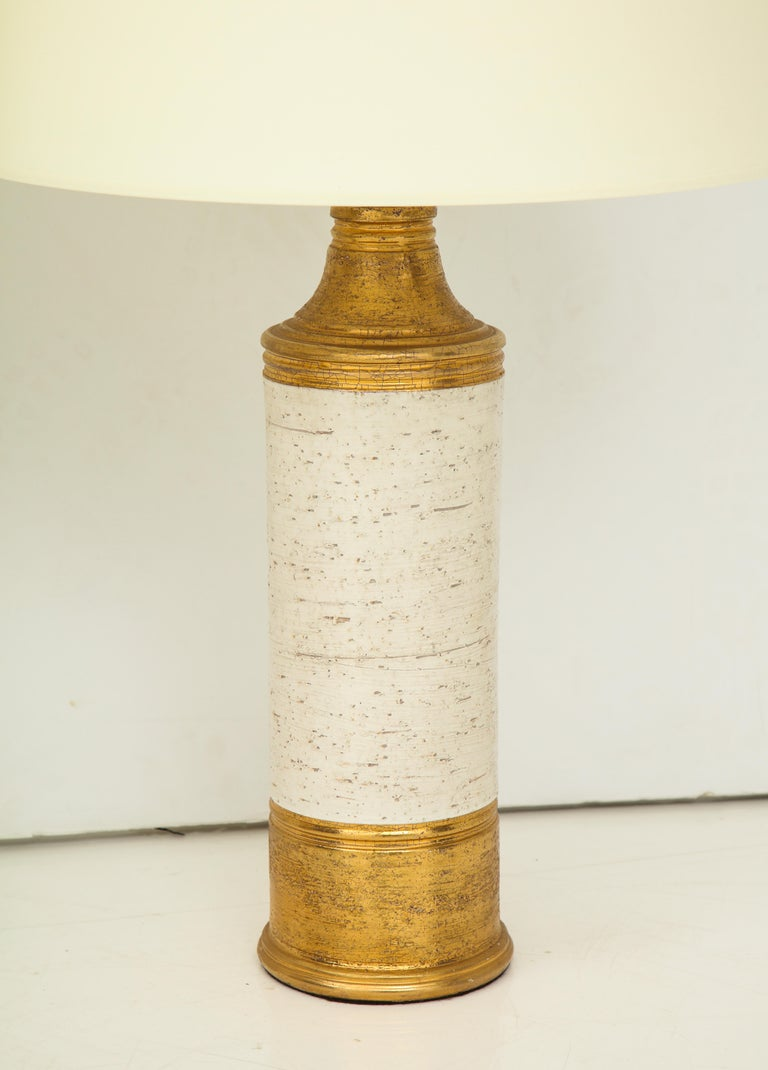 Late 20th Century Pair of Bitossi Birch Tree and Gold Ceramic Lamps For Sale