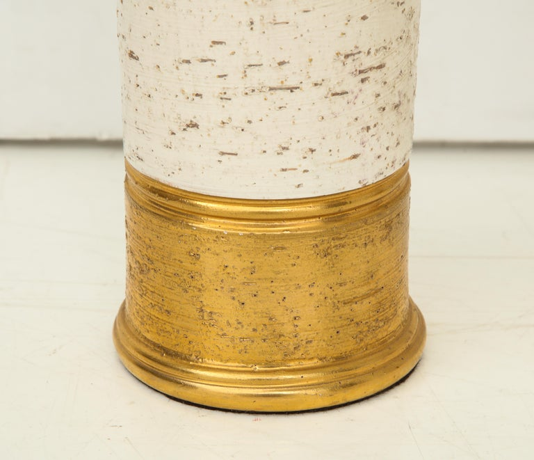 Pair of Bitossi Birch Tree and Gold Ceramic Lamps For Sale 1