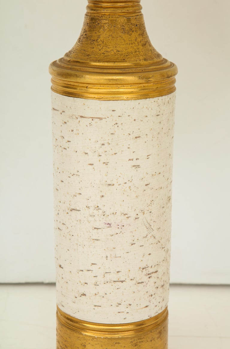 Pair of Bitossi Birch Tree and Gold Ceramic Lamps For Sale 2