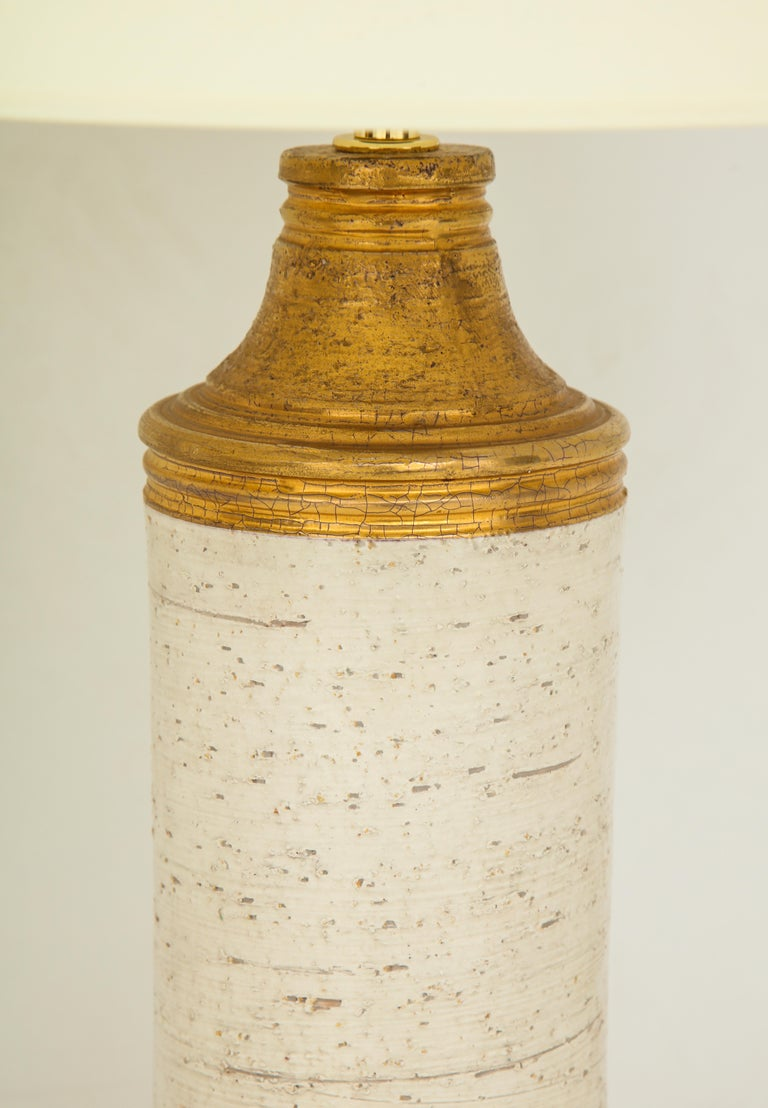 Pair of Bitossi Birch Tree and Gold Ceramic Lamps For Sale 3