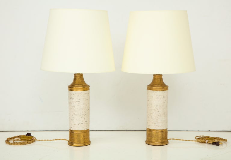 Pair of Bitossi Birch Tree and Gold Ceramic Lamps For Sale 4