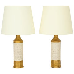 Pair of Bitossi Birch Tree and Gold Ceramic Lamps