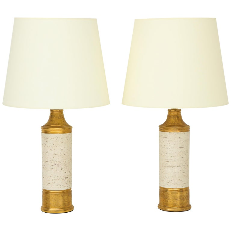 Pair of Bitossi Birch Tree and Gold Ceramic Lamps For Sale