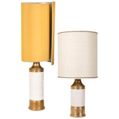 """Pair of Bitossi """"Birch""""Lamps, with Costum Made Silk Shades by Rene Houben"""