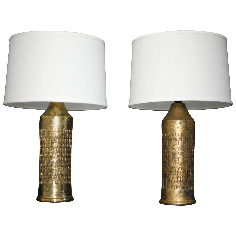 Pair of Bitossi Ceramic Lamps Gold Glaze, Italy, 1970