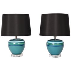 "Pair of Bitossi for Rosenthal Netter Blue Ceramic ""Fascie Colorate"" Table Lamps"