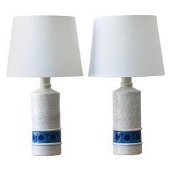 Pair of Bitossi Italy Tall Ceramic Table Lamps White and Blue with Lampshades