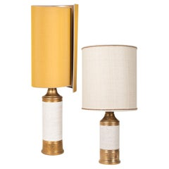 Pair of Bitossi Lamps for Berboms, with Custom Made Shades by Rene Houben