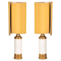 Pair of Bitossi Lamps for Bergboms, with Costum Made Shades by Rene Houben