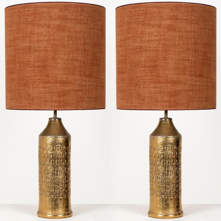 Pair of Bitossi Lamps for Bergboms, with Custom Made Shades by Rene Houben For Sale 5