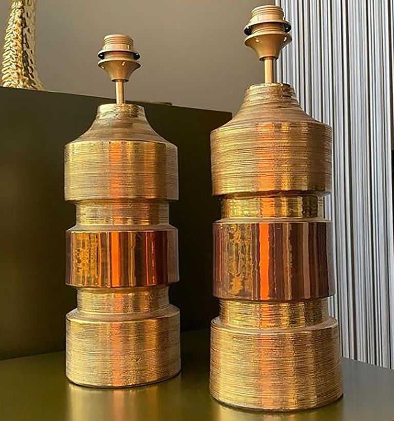 Pair of Bitossi Lamps for Bergboms, with Custom Made Shades by Rene Houben For Sale 9
