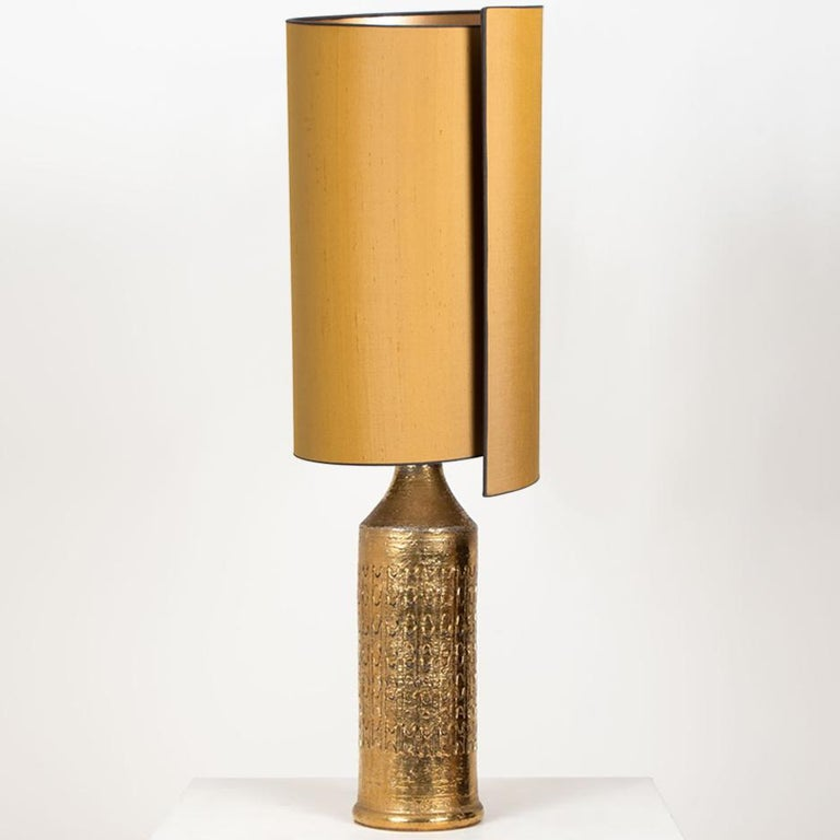 Mid-Century Modern Pair of Bitossi Lamps for Bergboms, with Custom Made Shades by Rene Houben For Sale