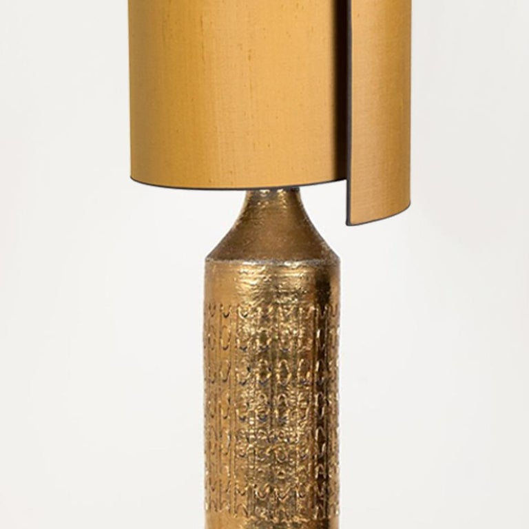 Italian Pair of Bitossi Lamps for Bergboms, with Custom Made Shades by Rene Houben For Sale