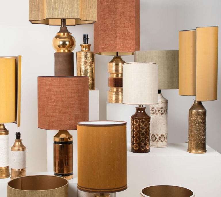 Pair of Bitossi Lamps for Bergboms, with Custom Made Shades by Rene Houben For Sale 1