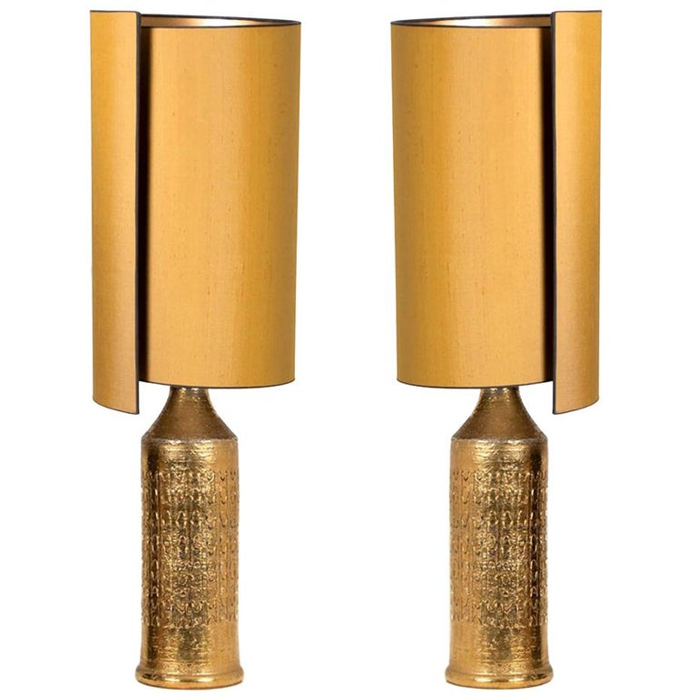 Pair of Bitossi Lamps for Bergboms, with Custom Made Shades by Rene Houben For Sale