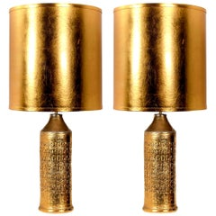 Pair of Bitossi Lamps for Bergboms, with Custom Made Shades by Rene Houben