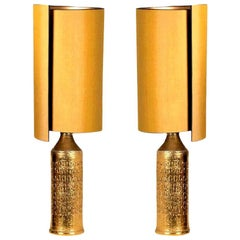 Pair of Bitossi Lamps for Bergboms, with Custom Made Shades by René Houben