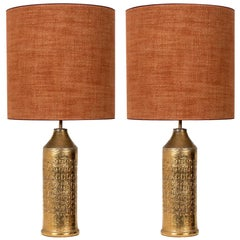 Pair of Bitossi Lamps for Bergboms, with Custom Made Silk Shades by Rene Houben