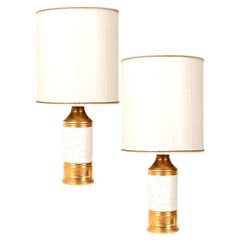 Pair of Bitossi Lamps, with Custom Made Shades by Rene Houben