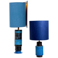 Pair of Bitossi Table Lamps with New Silk Custom Made Lampshades by René Houben